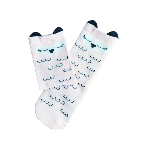 KNEE-LENGTH SOCKS // PINK SLEEPING OWL