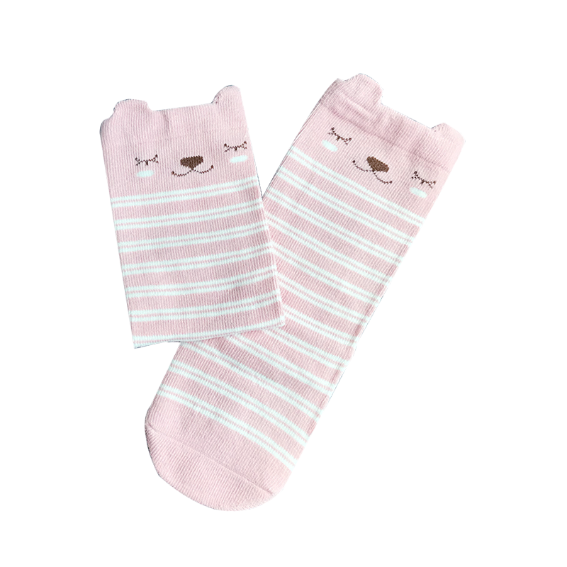 KNEE-LENGTH SOCKS // PINK SNOOZE BEAR