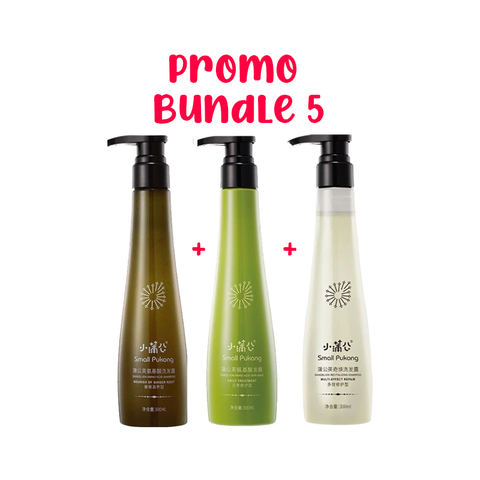SMALL PUKONG BUNDLE 5 // GINGER ROOT SHAMPOO + DAILY TREATMENT HAIR MASK + 5-IN-1 SHAMPOO