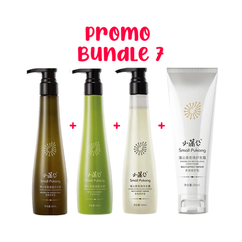 SMALL PUKONG BUNDLE 7 // GINGER ROOT SHAMPOO + DAILY TREATMENT HAIR MASK + 5-IN-1 SHAMPOO + REVITALISING CONDITIONER