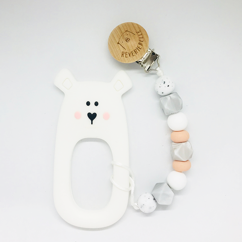 Teething Clip Set - Bear (White)
