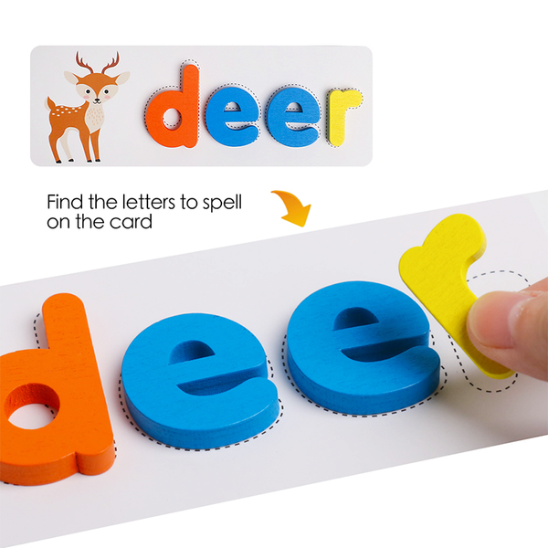 SPELLING GAME - WOODEN ALPHABET + CARDS
