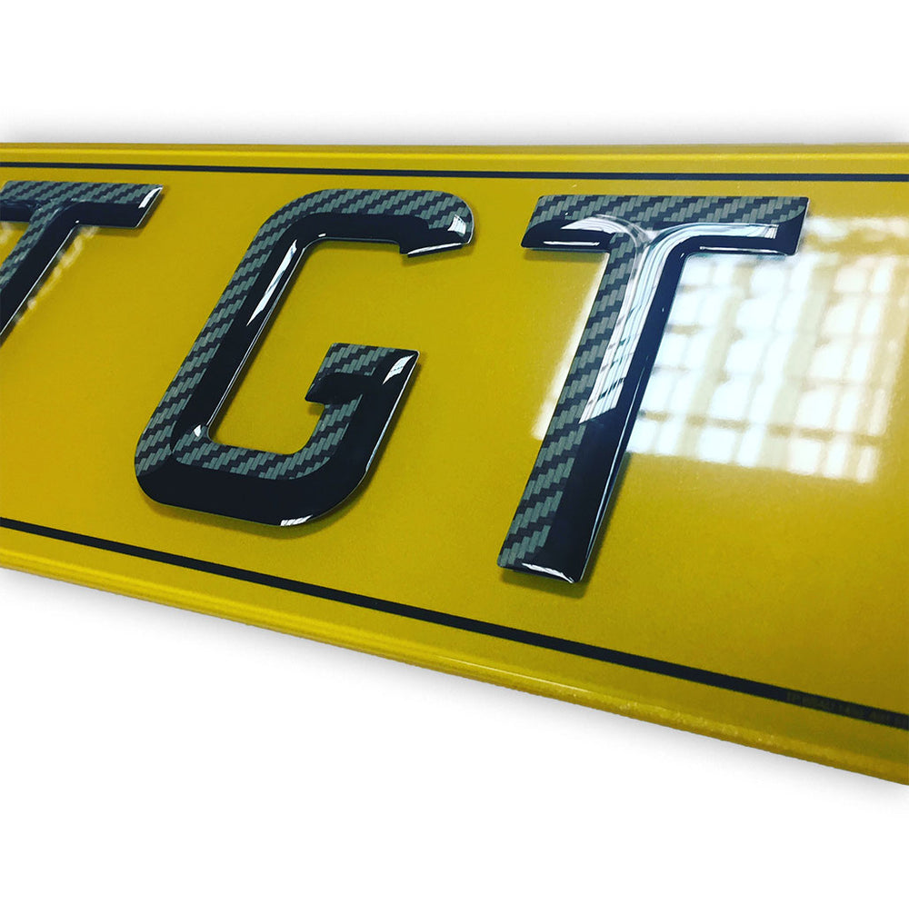 Tinted Gel Number Plates 3D carbon font