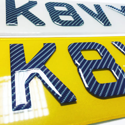 Carbon Fibre Gel 3D number plates Set