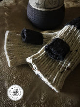 Load image into Gallery viewer, Black & Oatmeal Fingerless Mitts, Vegan
