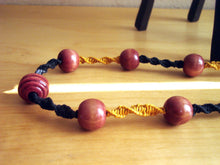 Load image into Gallery viewer, Macramè Retro Necklace with Red Wooden Beads