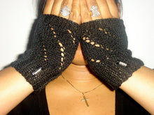 Load image into Gallery viewer, Fingerless Mittens with Bead Accent