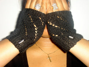 Fingerless Mittens with Bead Accent
