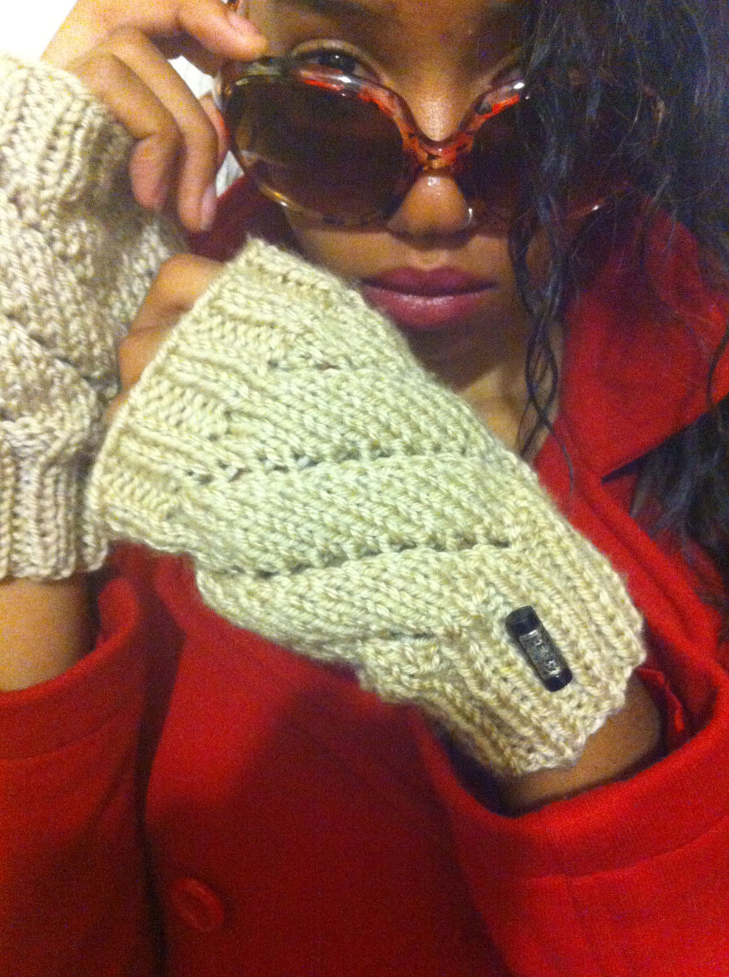 Fingerless Mitts – Lace Eyelets with Accented Cuffs