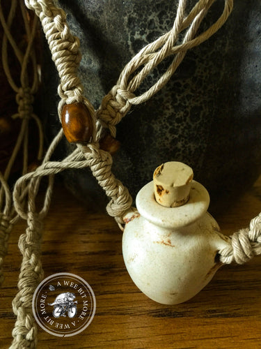 Essential Oils Macrame Necklace – Raku Bottle Pendant