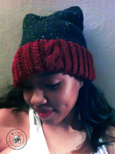 PATTERN Cabled & Twisted Knit Tweed Hat