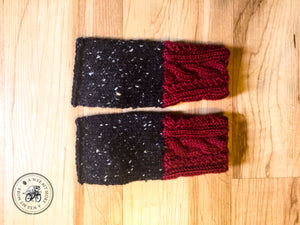 PATTERN Cabled & Twisted Knit Tweed Fingerless Mitts