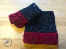 Load image into Gallery viewer, PATTERN Cabled & Twisted Knit Tweed Fingerless Mitts