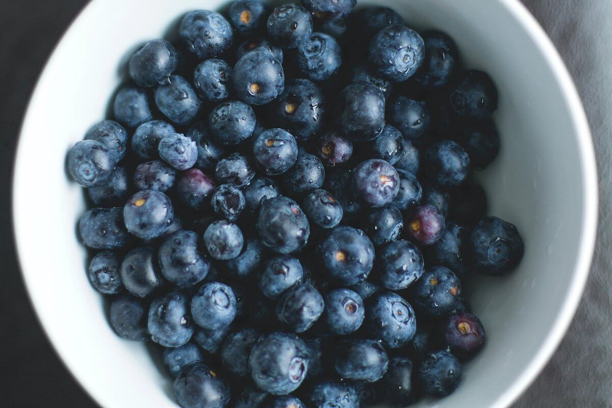 A white bowl full of blueberries.