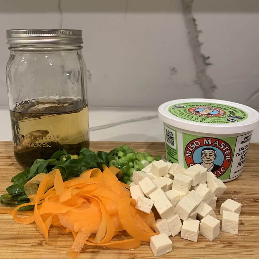 ingredients for miso soup recipe. Include veggies, miso paste and tofu