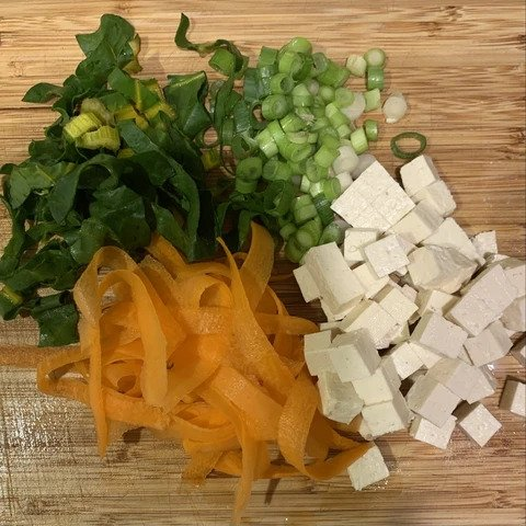 Carrots and tofu are essential ingredients for the miso soup recipe.