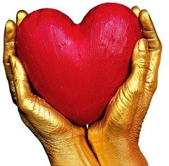 Golden hearts holding a heart.