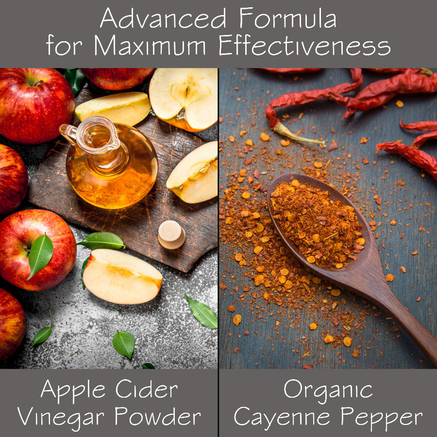 An infographich with images, one with apples and cider and the right side with a wooden spoon and cayenne.