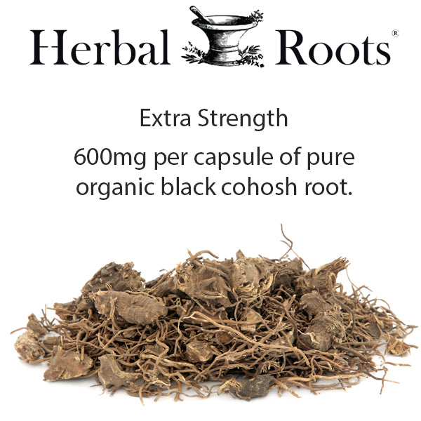 Extra strength infographic - 600mg per capsule of pure organic black cohosh root and a picture of the root.