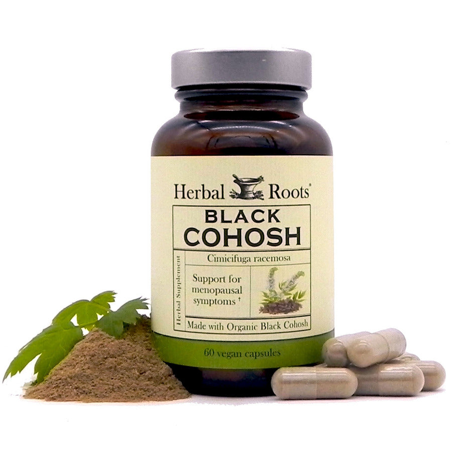 Black cohosh bottle with a Herbal Roots label, a few capsules around it and organic black cohosh extract.