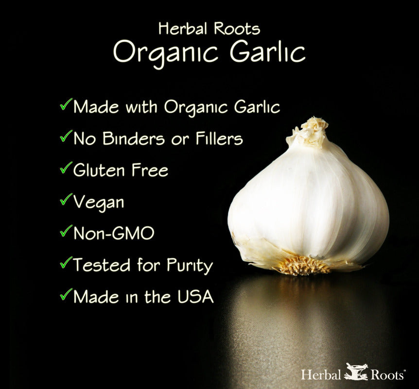 Organic garlic supplement list of characteristics.