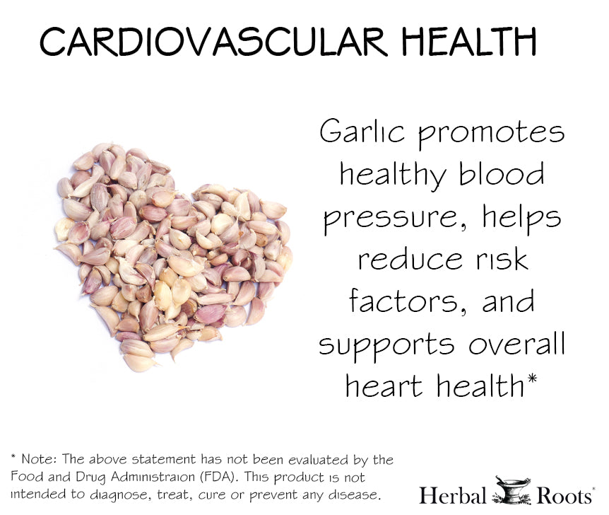A heart made out of garlic bulbs. Organic garlic supports cardiovascular health ad.