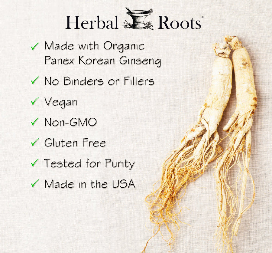 Herbal roots infographic explaining all characteristics of organic panex korean ginseng.