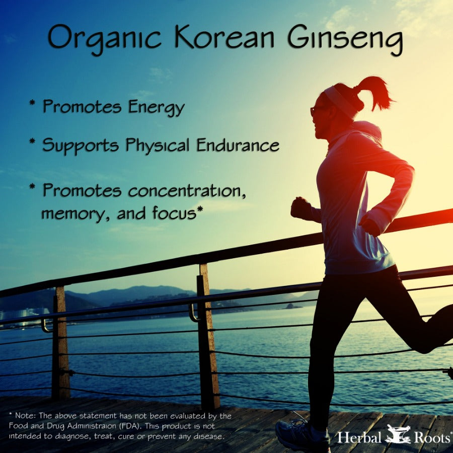 Organic korean ginseng infographic with a woman running on a deck in front of a lake.