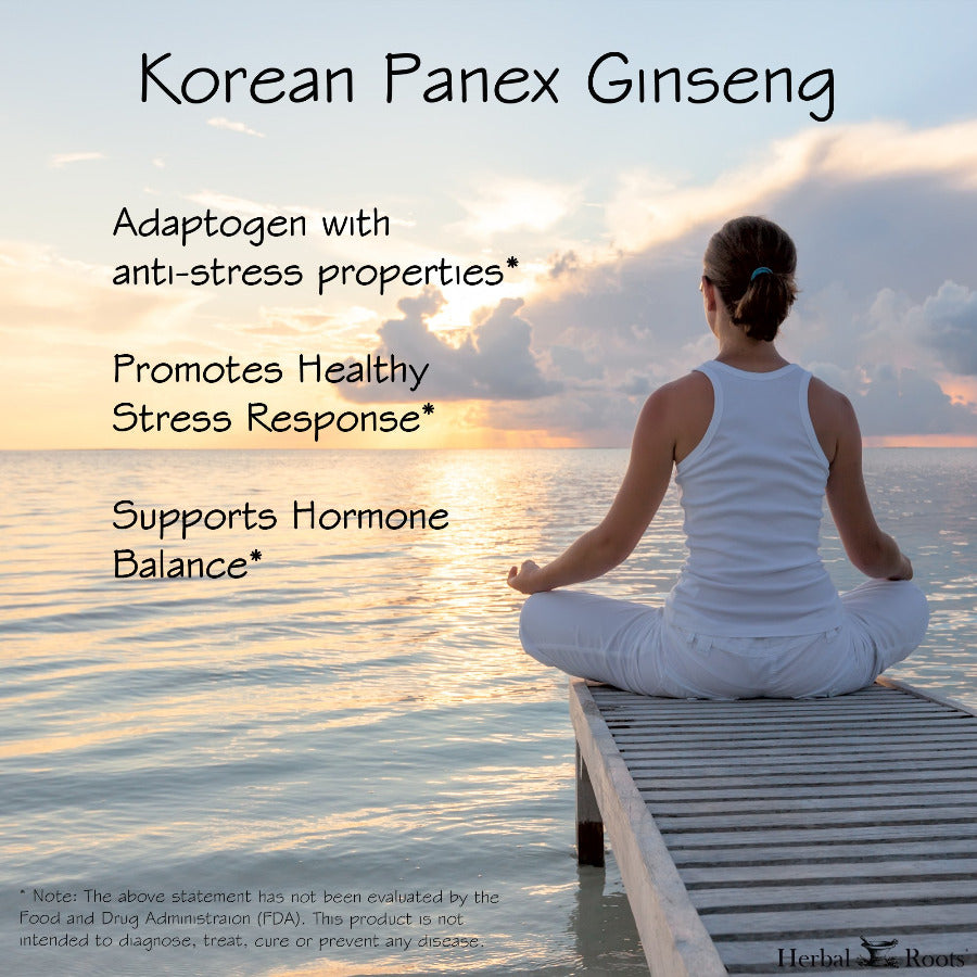 A woman with a white shirt and pants meditating in front of the ocean. This is an infographich about organic korean panex ginseng benefits.