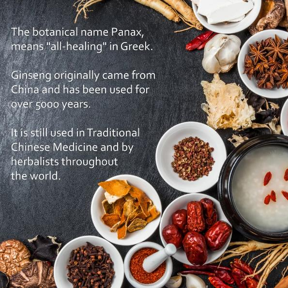 "Korean panax ginseng add - content: the botanical panax means ""all healing"" in Greek."