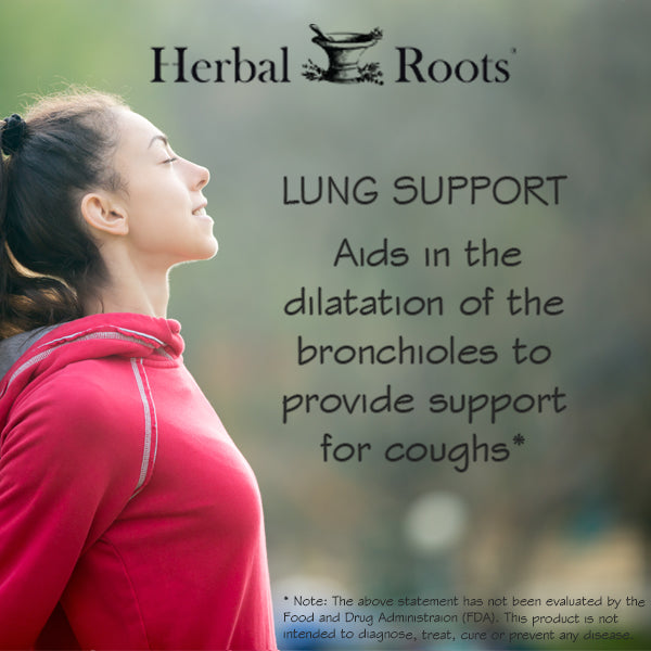 A woman breathing and enjoying the nature. The infographich says: Lung support, aids in the dilation of the bronchioles to provide support for coughs*.