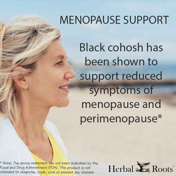 An adult woman on the beach. This is an infographic of menopause support, black cohosh has been shown to support reduced symptoms of menopause and perimenopause*.