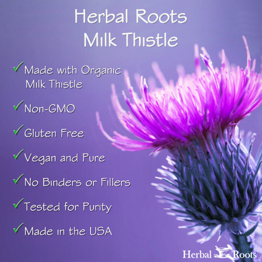 Milk thistle characteristics, organic, non-gmo, gluten free, vegan & pure, no binders or fillers, tested for purity, made in the USA.