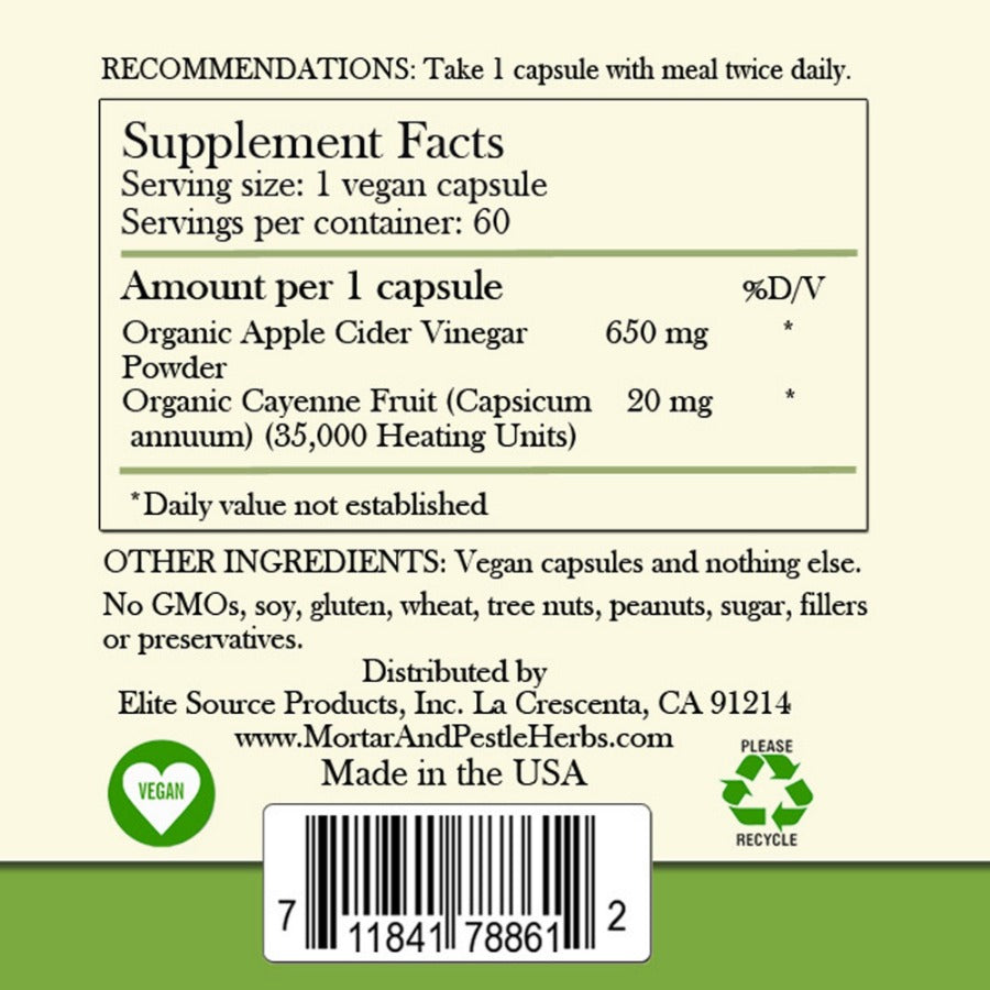 ACV label revised.  vegan & recyle signs on the bottom of the label.