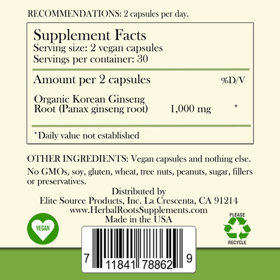 Organic korean ginseng label with its supplement facts. Vegan & recycle signs are shown at the bottom of the label.