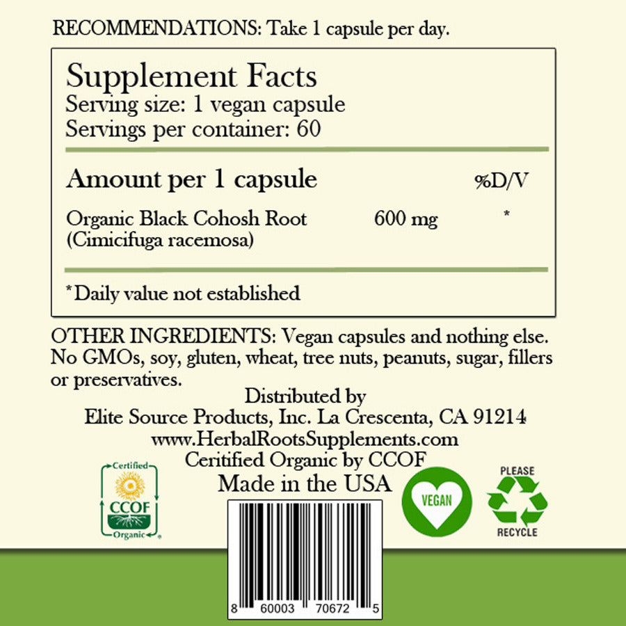 Supplement fact label - recommendations when taking black cohosh extract 600mg capsules. 1 capsule per day. Ingredients list and Elite Product Source label.