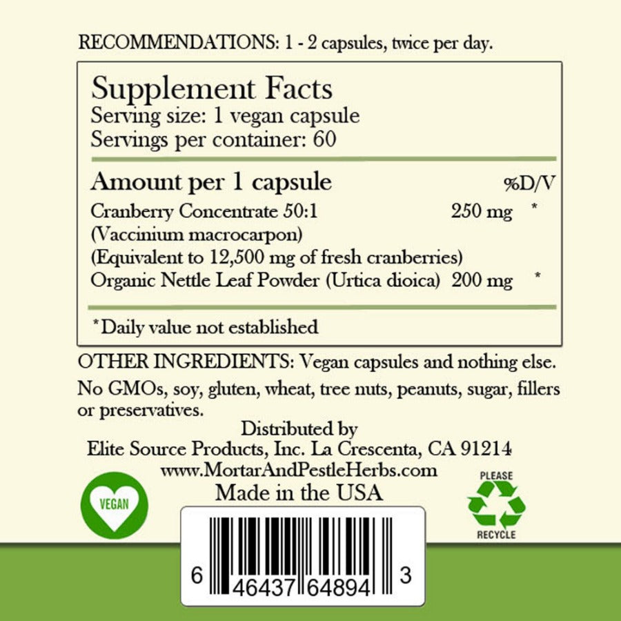 Cranberry with nettle supplement facts label.