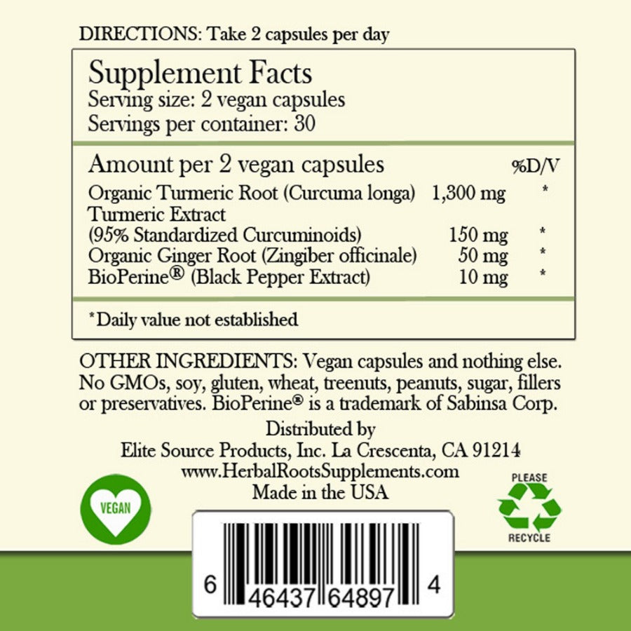 Turmeric curcumin capsules label, the supplement facts includes all the data. Vegan and recycle signs are included.