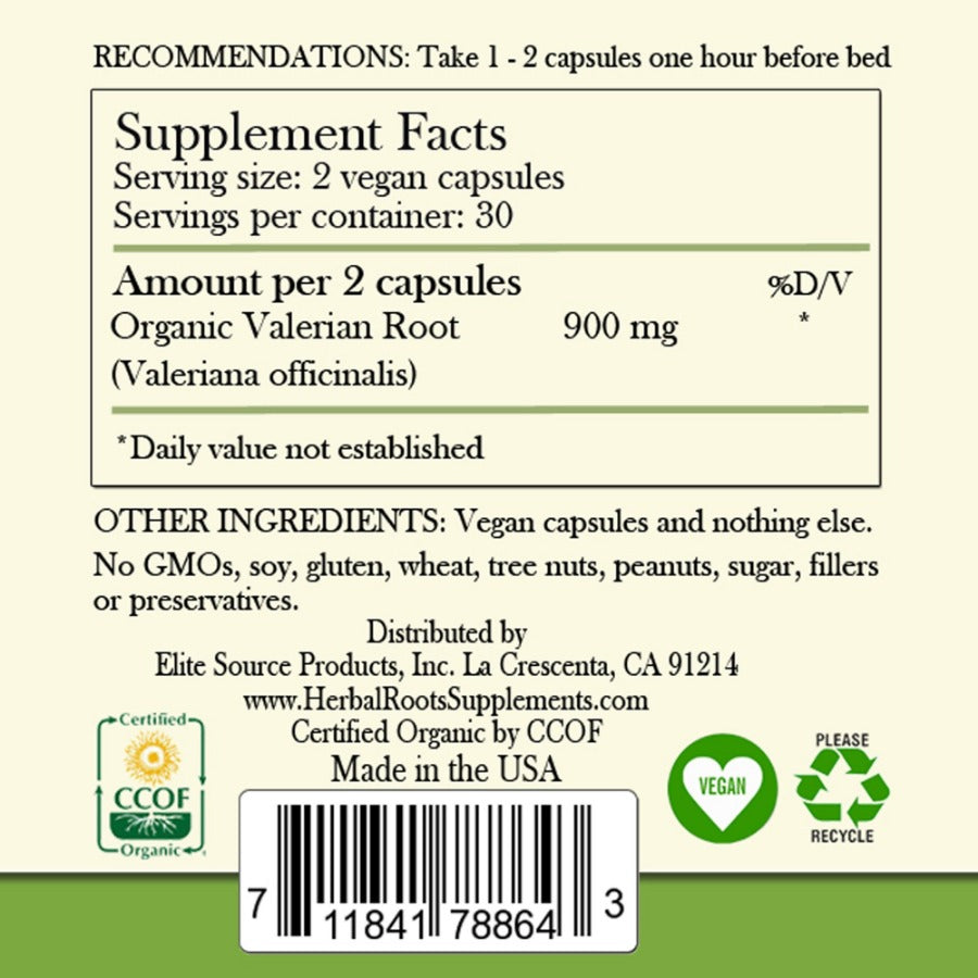 Supplements facts label. Valerian contains organic valerian root. The label shows the CCOF logo, vegan and recycle sign.