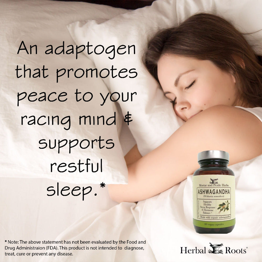 "A woman sleeping nicely. An infographic that says: ""An adaptogen that promotes peace to your racing midn & supports restful sleep."