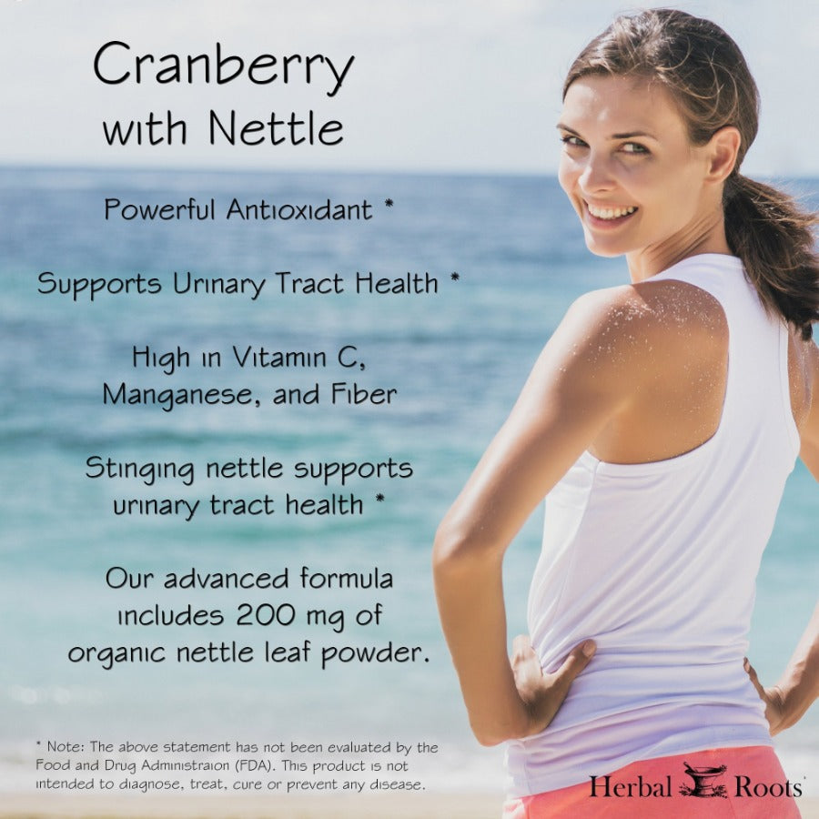 A smiley woman with sporty clothing. Cranberry infographic that explain the characteristics and benefits of this organic supplement.