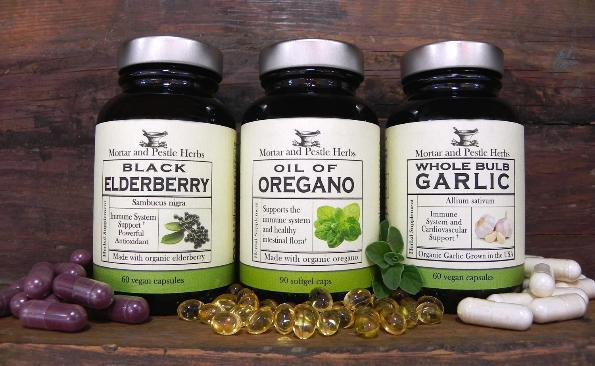 Inmune system support trio: Black elderberry, Oil of oregano, whole bulb oregano.
