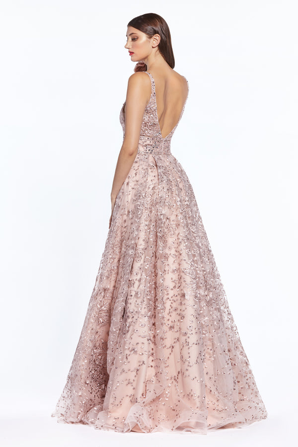 Dusty Rose Sequin Embellished A-Line Dress by Cinderella Divine