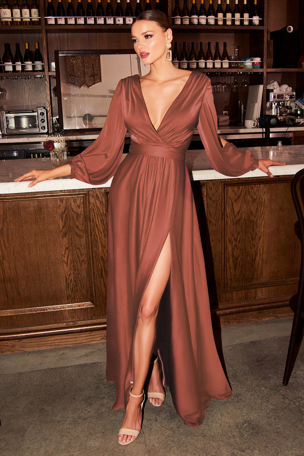 Maxi Long Sleeve Satin Wrap Dress by Cinderella Divine