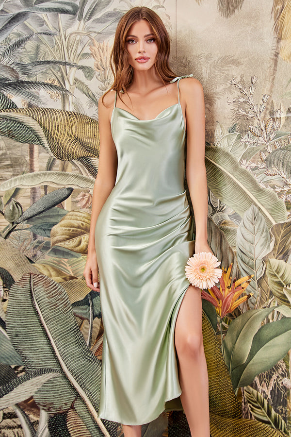 Midi Satin Slip Dress with Split by Cinderella Divine