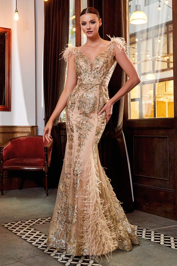 Embellished Fishtail Feather Gown by Cinderella Divine