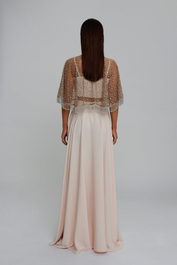 Mink Embellished Bolero with Blush Crop Top and Evening Skirt