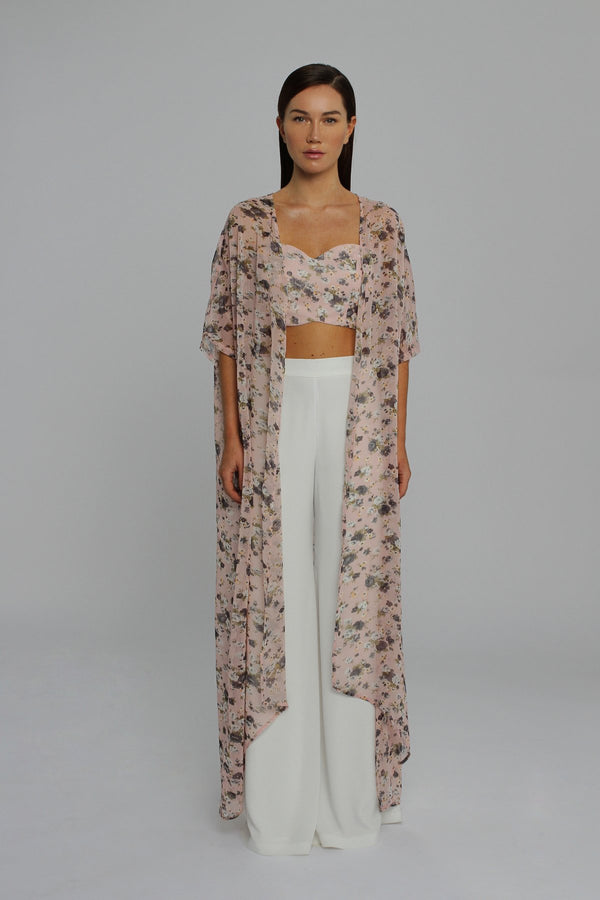 Dusky Pink Floral Crop Top