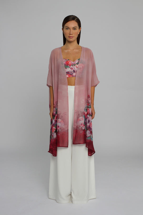 Rose Blush Bralette and Cape with Palazzo Trouser