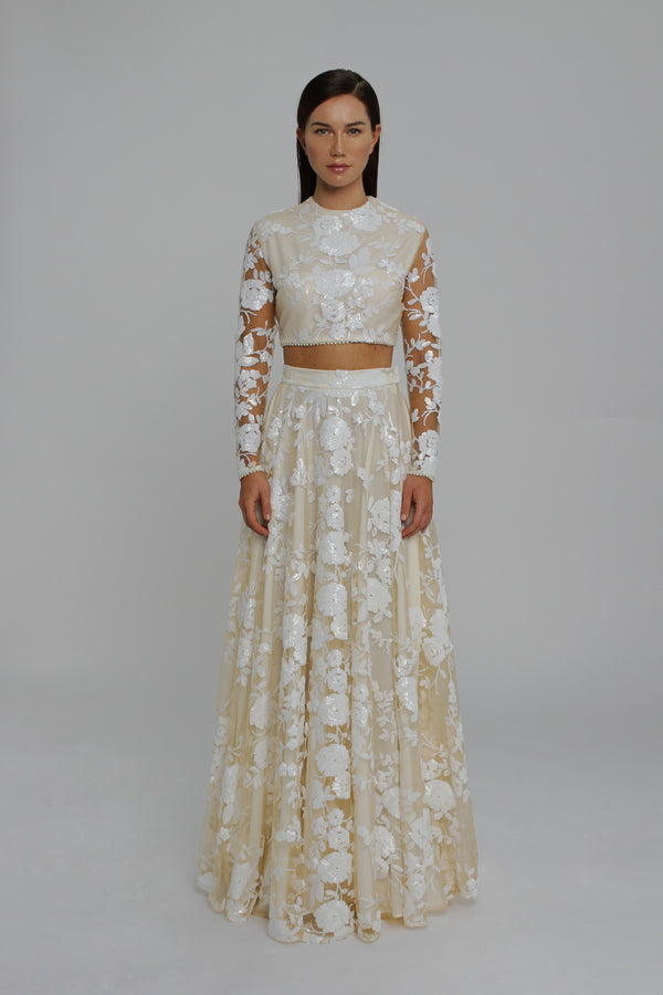 Signature White Rose Sequin Full Sleeve Top and Evening Skirt